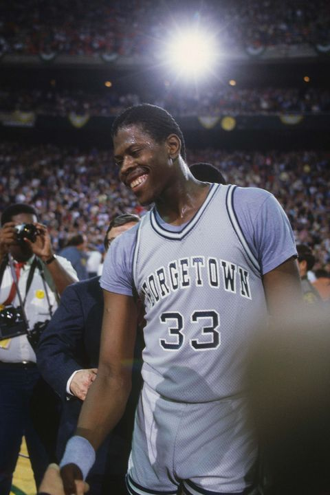 UNDATED: Georgetown University's Patrick Ewing #33 laughs during a break in action. (Photo by Focus on Sport/Getty Images) *** Local Caption *** Patrick Ewing