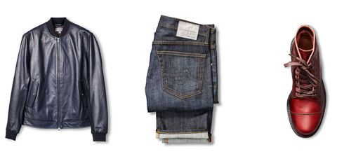 Footwear, Product, Collar, Sleeve, Denim, Textile, Jacket, Fashion, Black, Tan,