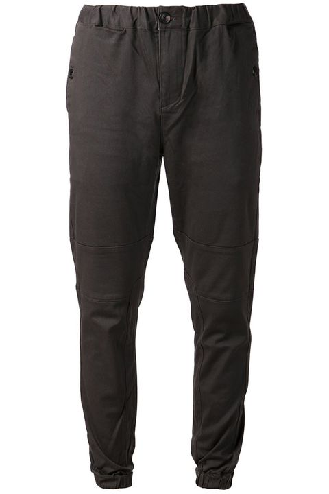 "Slim and dark, these can go to work under a blazer if you so desire.  <em>Straight joggers ($90) by Ourcaste, <a target=""_blank"" href=""http://www.farfetch.com/shopping/men/ourcaste-straight-trousers-item-10859165.aspx?storeid=9058&amp;ffref=lp_22_8_"">farfetch.com</a></em>"