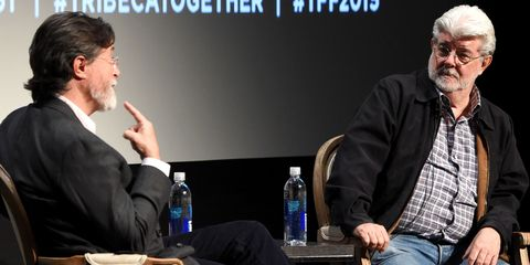Stephen Colbert and George Lucas at Tribeca Talks