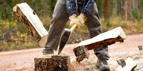Wood, Denim, Tartan, Soil, Plaid, Tool, Axe, Glove, Natural material, Lumber,