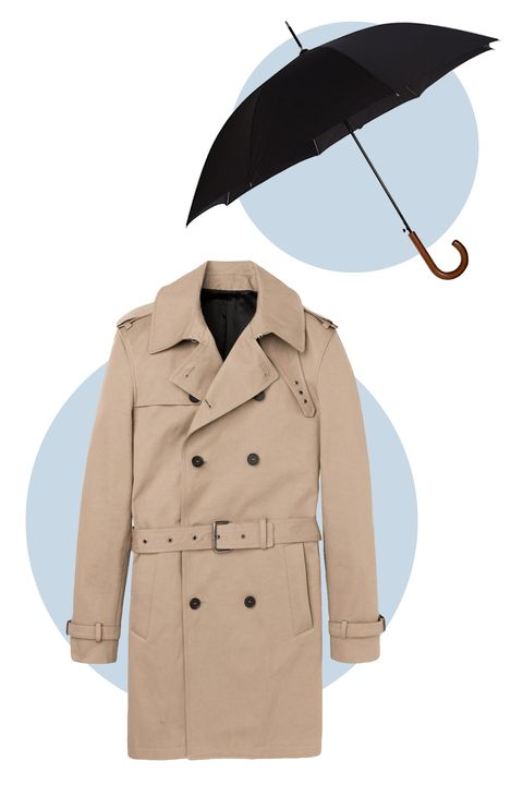 Originally designed to keep damp World War I officers a little drier, the trench coat is the ultimate spring wardrobe staple. The Kooples keeps theirs fitted for a more modern look while the traditional black umbrella pays homage to James Bond. 