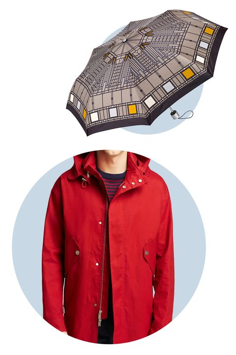 Take all-American style up a notch with an Art Deco-inspired umbrella. The pattern, conceived in 1903, was adapted from a glass window in the Darwin D. Martin House in New York. 