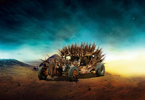 Built around the desiccated remains of what appears to be a 1937 Plymouth sedan, this metallic hyena's mission is to scrounge the wasteland looking for carrion to consume and repurpose. The spikes were not part of Plymouth's original design. Hey, maybe it's a '38? Nah, it's a '37.
