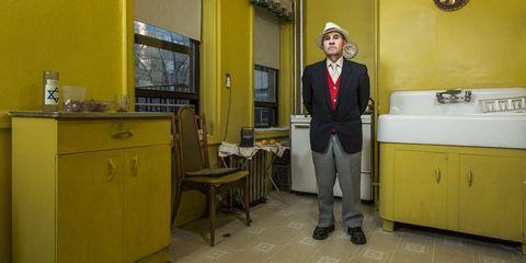 Lighting, Yellow, Room, Drawer, Cupboard, Floor, Cabinetry, Countertop, Door, Suit trousers,
