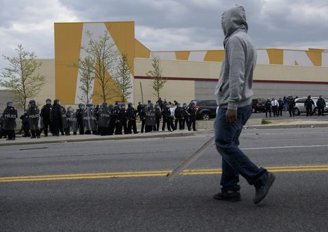 Police form a line near Baltimore's Mondawmin Mall on April 27, 2015.