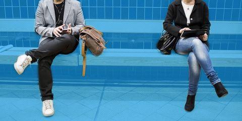 Footwear, Leg, Arm, Sitting, Trousers, Human leg, Bag, Joint, Outerwear, Style,