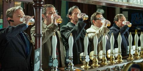 The World's End movie drinking beer