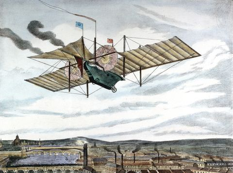 William Samuel Henson and John Stringfellow—the Wright brothers before the Wright brothers existed—patented this flying car in 1841. The duo were never able to build a functional version of their monoplane, which had a theoretical wingspan of 150 feet.