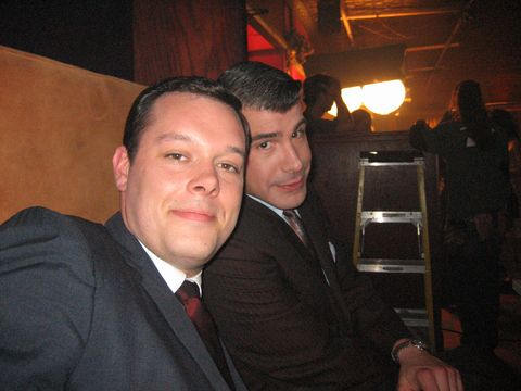 <p>Michael Gladis (Paul Kinsey) and Batt snap a pilot selfie.</p>