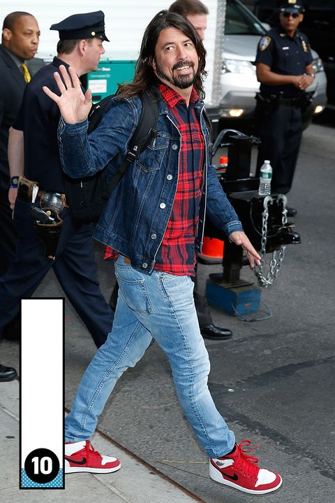 Even Dave Grohl knows that mixing shades of denim with Jordan I's creates a bulletproof outfit.