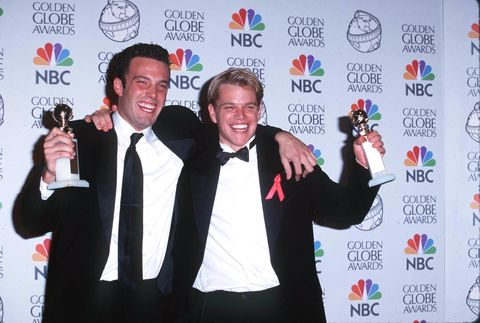 """<p>This celeb duo where friends throughout childhood and then lived together while writing their award-winning film """"Good Will Hunting."""" But it wasn't all business when they lived together. <a target=""""_blank"""" href=""""http://www.usmagazine.com/entertainment/pictures/celebrity-roommates-201172/12784"""">US Weekly reports</a> that Affleck had this to say about their time together: """"We rented this house on the beach in Venice and 800 people came and stayed with us and got drunk. Then we ran out of money and had to get an apartment.""""</p>"""