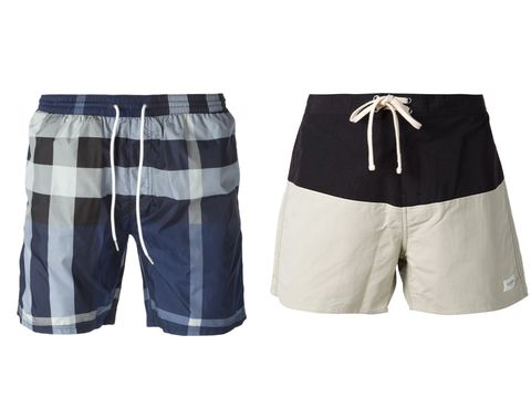 b1f4c406df Check print swim shorts ($148.27) by Burberry Brit, farfetch.com and  drawstring swim shorts ($75) by Saturdays Surf NYC, farfetch.com.