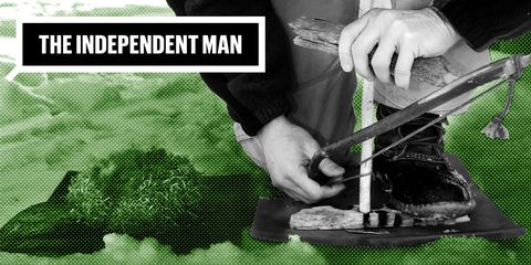 Independent Man Outdoor Skill Making Fire Without Matches