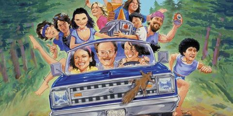 People, Fun, Automotive exterior, Happy, Art, Animation, Classic car, Illustration, Painting, Animated cartoon,