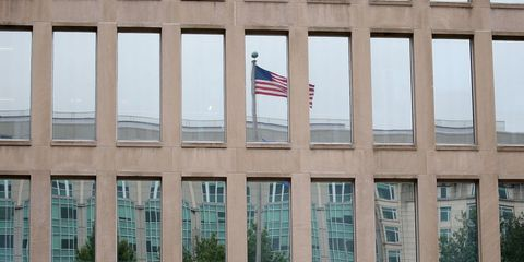 Flag, Daytime, Facade, Flag of the united states, Commercial building, Headquarters, Daylighting, Flag Day (USA), Government, Corporate headquarters,