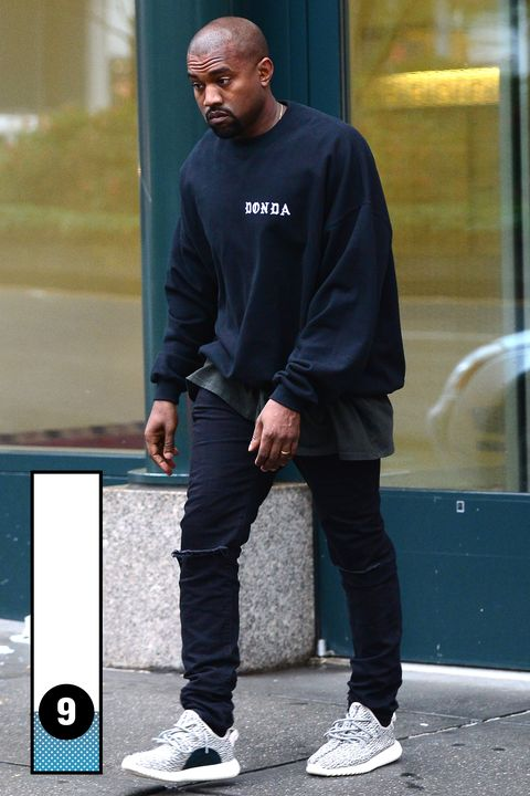 Kanye, what's a matter, Charlie Brown? You're all-black outfit is looks great—clean and casual—and you seem to have finally invented a shoe I can bear to look at.