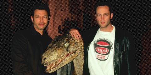 Jeff Goldblum and Vince Vaughn pose with a raptor to promote 'The Lost World.'