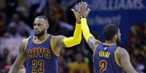 LeBron James and Kyrie Irving High Five