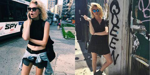 Clothing, Eyewear, Vision care, Photograph, Sunglasses, Street, Style, Denim, jean short, Street fashion,