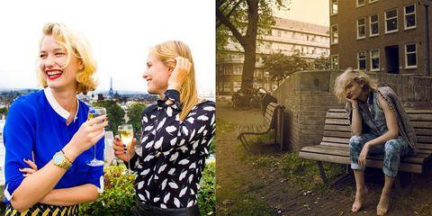 Window, Photograph, Mammal, Sitting, Outdoor furniture, Bench, Beauty, Blond, Outdoor bench, Street fashion,