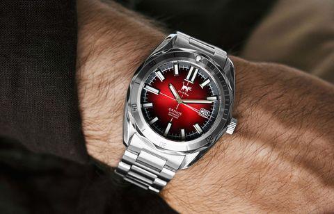 Watch, Product, Analog watch, Wrist, Watch accessory, Font, Fashion accessory, Metal, Fashion, Black,