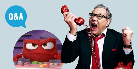 Eyewear, Vision care, Collar, Red, Coat, Suit, Tie, Blazer, Animation, Fictional character,