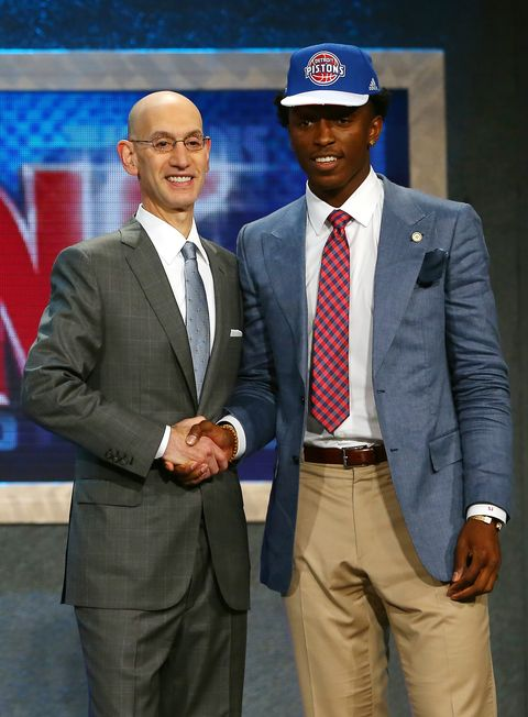 NEW YORK, NY - JUNE 25:  Stanley Johnson poses with Commissioner Adam Silver after being selected eighth overall by the Detroit Pistons in the First Round of the 2015 NBA Draft at the Barclays Center on June 25, 2015 in the Brooklyn borough of  New York City. NOTE TO USER: User expressly acknowledges and agrees that, by downloading and or using this photograph, User is consenting to the terms and conditions of the Getty Images License Agreement.  (Photo by Elsa/Getty Images)