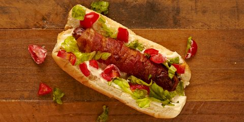 A BLT sandwich in hot dog form? Genius! Wrap your hot dog in bacon, then top with mayo, chopped romaine lettuce, and quartered cherry tomatoes.