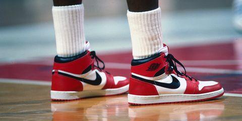 Footwear, Human leg, Red, White, Style, Flooring, Carmine, Fashion, Athletic shoe, Black,