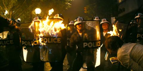 Hat, Fire, Flame, Law enforcement, Heat, Crew, Sun hat, Police, Percussion, Fedora,