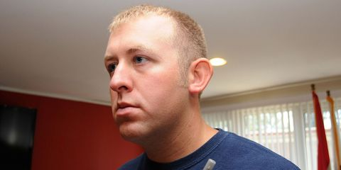 Ear, Cheek, Chin, Forehead, Shoulder, Eyebrow, Jaw, Eyelash, Window covering, Crew cut,