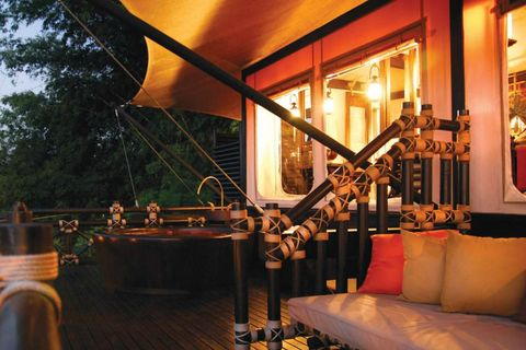 "<p><strong>Where</strong>: Pack your passports and head to the Four Season's northern Thailand outpost at the <a href=""http://www.fourseasons.com/goldentriangle/"" target=""_blank"">Golden Triangle</a>. The tented resort is the ultimate in glamping (your girlfriend will know the term). </p><p><strong>Your Game Plan</strong>: The property is what you'd expect—from the elephant rides to the lush jungle hikes—but with the topnotch luxury touches the hotel brand is revered for, including fancy cooking lessons. A pool made of local granite stones looks like a chicer cousin of the Playboy grotto, and there are an impressive five options for romantic dining.</p>"