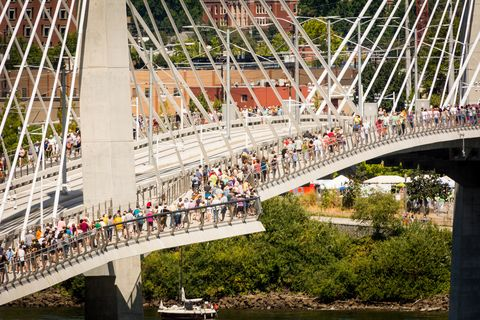 """<p>""""People seem to adore the aesthetics of it, the art, the architectural lighting and how well it fits its site,"""" says Dan Blocher, TriMet's executive director of capital projects. """"It was a three-year process to embrace the city of bridges [and determine] what bridge type would work here. This fits in the environment.""""</p>"""