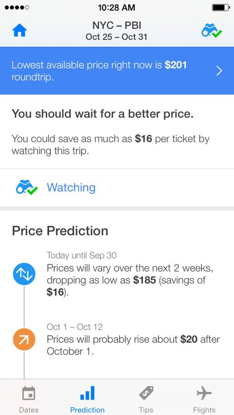 "<p>This free, user-friendly app predicts the best time to hit ""book"" on a flight by scouring millions of daily airfares and finding the precise moment when a price drops below its average. If you're flexible with your departure and return dates, you can view the Hopper calendar and decide which are the cheapest and most convenient (calling in sick is optional). </p><p>Not quite ready to hand over your credit card? Sign up for the ""Watch a Flight"" function, which sends a push notification when the price of your chosen route hits rock bottom.</p><p><em>Get it on <a href=""https://itunes.apple.com/us/app/hopper-airfare-predictions/id904052407?mt=8"" target=""_blank"">iTunes</a> for Apple and <a href=""https://play.google.com/store/apps/details?id=com.hopper.mountainview.play&hl=en"" target=""_blank"">Google Play</a> for Android.</em></p>"