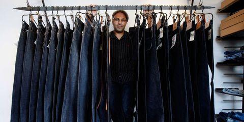 Denim, Textile, Jacket, Clothes hanger, Collection, Fashion design, Leather, Pocket,