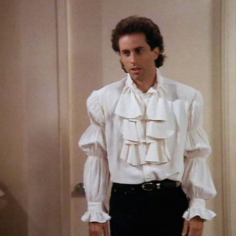 "<p>Jerry Seinfeld could have been the first true pirate of the '90s in the infamous ""Puffy Shirt"" episode, written by Larry David in 1993. These flamboyant ruffles and frills are currently on display at the museum. </p>"