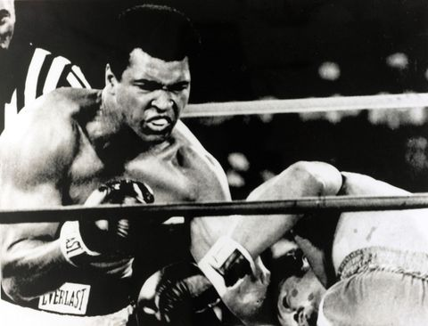 """The Smithsonian owns the gloves that threw this punch, the gloves that smacked sweat off the cringing face of George Foreman as Muhammad Ali soundly defeated him in eight rounds in the then-Zaire jungle. 1975's """"Rumble in the Jungle"""" established Ali as the world champion heavyweight for the second time in his career."""