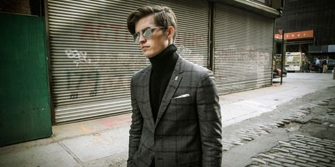 Clothing, Eyewear, Vision care, Glasses, Collar, Coat, Standing, Outerwear, Sunglasses, Style,
