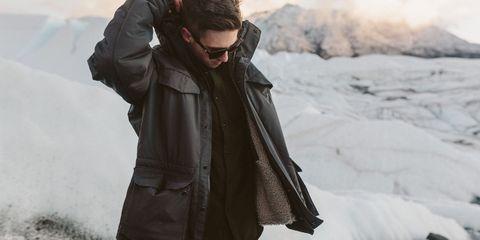 Clothing, Winter, Jacket, Sleeve, Textile, Outerwear, Coat, Freezing, Street fashion, Sunglasses,