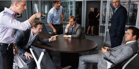Face, Arm, Sitting, Table, Furniture, Suit, Dress shirt, Interaction, Door, Conversation,