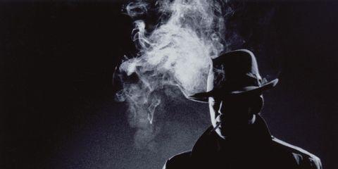 Hat, Darkness, Smoke, Headgear, Costume accessory, Monochrome, Monochrome photography, Black-and-white, Costume hat, Fedora,