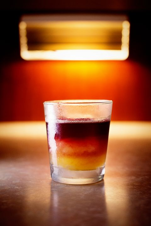 "<p>""It's a traditional whiskey sour, but to make it a New York sour, you float red wine—Côtes du Rhône<span class=""redactor-invisible-space""> or Beaujolais, something with a backbone to it—on top. The rich aromatics push it into winter."" </span></p><p><strong>Ingredients:</strong></p><p><strong></strong>• 2 oz  bourbon</p><p>• .75 oz lemon juice</p><p>• .75 oz simple syrup</p><p>• Red wine float<br></p><p><strong>Directions:</strong></p><p>Shake the bourbon, lemon juice, and simple syrup with ice and strain into a double old fashioned glass over ice. Top with a red wine float. </p>"