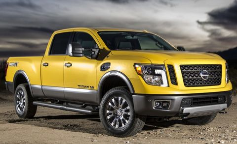 """Having been barely changed from its 2004 debut, the Titan was seemingly the truck that time forgot—at least until an all-new <a href=""""http://www.caranddriver.com/news/2016-nissan-titan-xd-photos-and-info-news"""" target=""""_blank"""">2016 Titan</a>was introduced at the 2015 Detroit auto show. While the remaining examples of the current model are powered by a 317-hp V-8 teamed with a five-speed automatic, the 2016 Titan will arrive at first packing a Cummins turbo-diesel V-8 producing 310-horsepower and 555-lb-ft of twist mated to a six-speed Aisin automatic transmission. (2016 Nissan Titan Pro 4X shown)"""