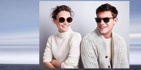 Eyewear, Glasses, Ear, Vision care, Smile, Sunglasses, Sleeve, Photograph, Outerwear, White,