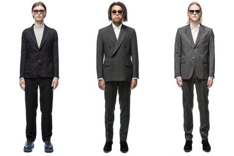 Clothing, Eyewear, Coat, Product, Collar, Sleeve, Trousers, Dress shirt, Standing, Shirt,