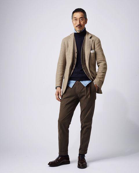 Clothing, Coat, Brown, Dress shirt, Collar, Sleeve, Trousers, Human body, Shoulder, Pocket,