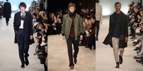 Clothing, Footwear, Leg, Event, Trousers, Coat, Winter, Shirt, Textile, Fashion show,