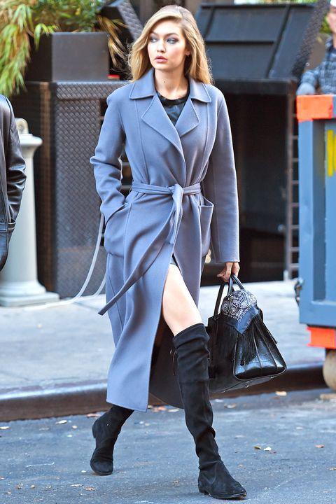 Clothing, Outerwear, Style, Street fashion, Fashion show, Collar, Fashion model, Boot, Fashion, Knee-high boot,