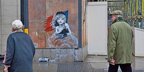 Human, Wall, Jacket, Art, Paint, Street fashion, Artwork, Visual arts, Painting, Art paint,